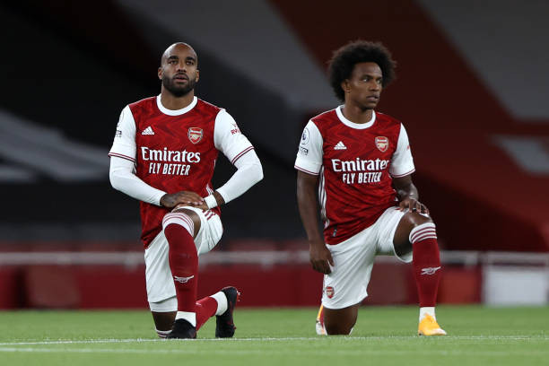 Lacazette (L) Arsenal transfer continues to make the rounds but the Gunners want Frenchman to say. [Getty]