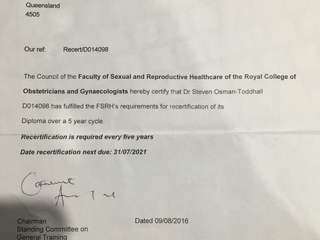 Dr Steve Has Been Re-Certified With The Diploma of the Faculty of Sexual and Reproductive Healthcare