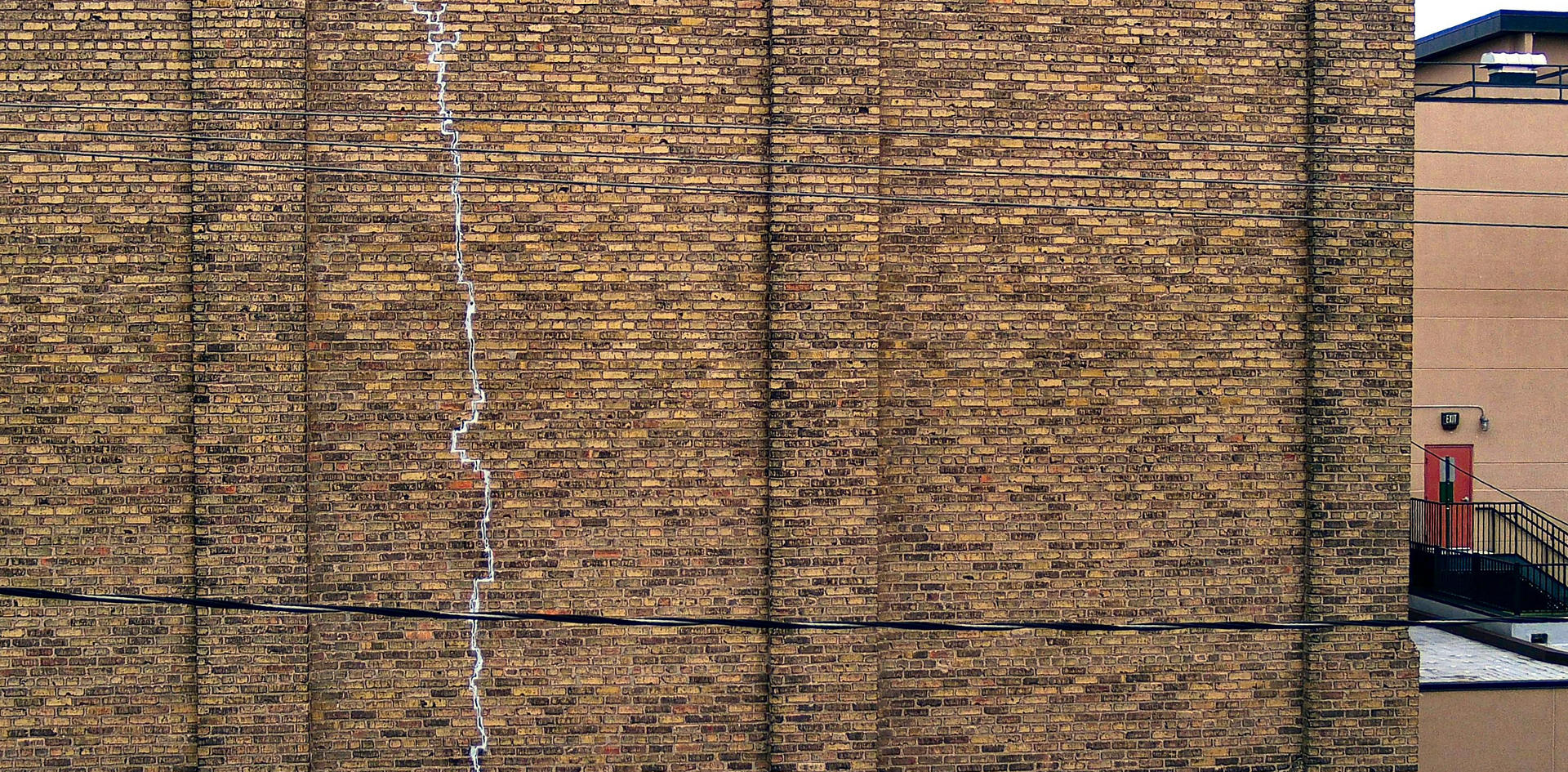 Commercial building wall crack