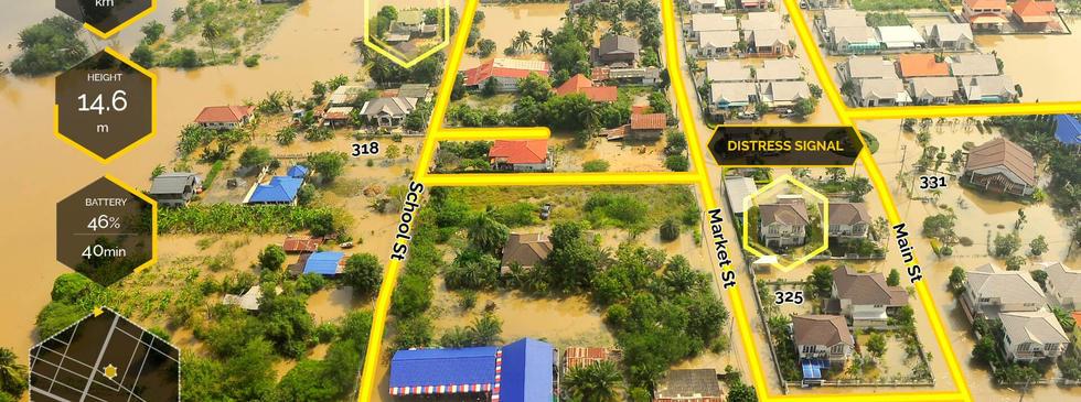 GIS overlay on flood response video