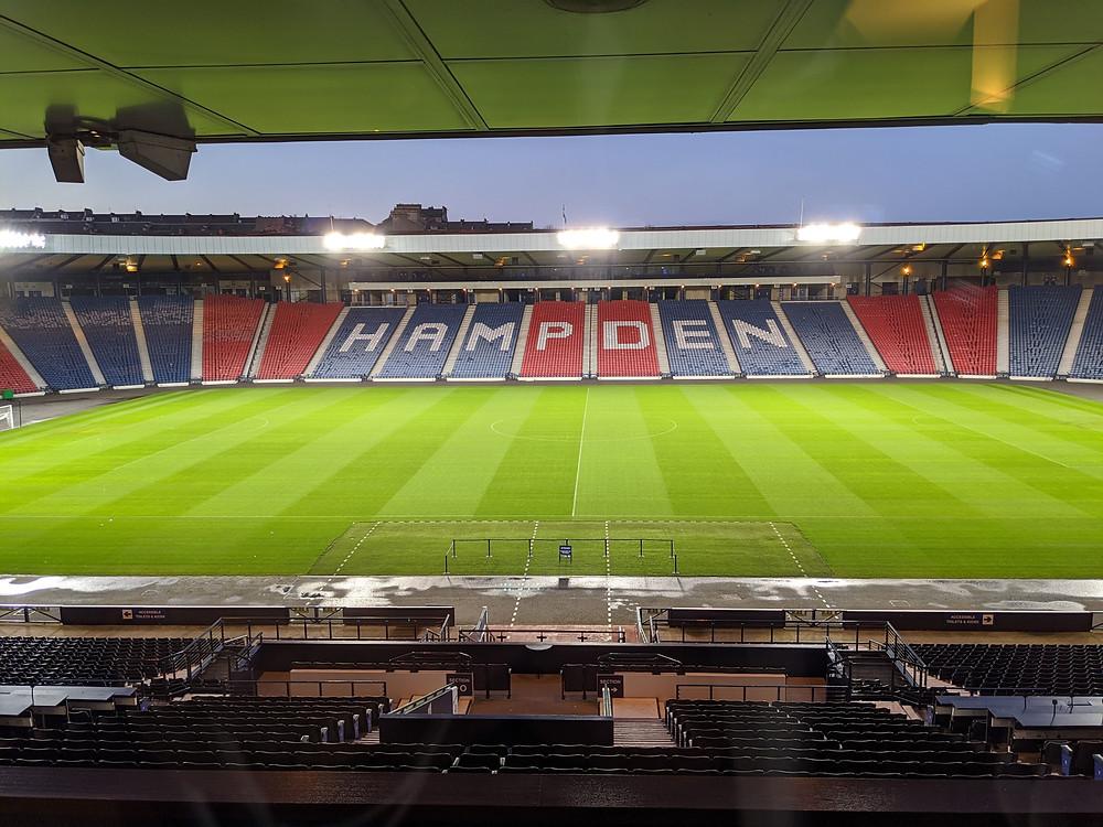 An empty Hampden Park Stadium
