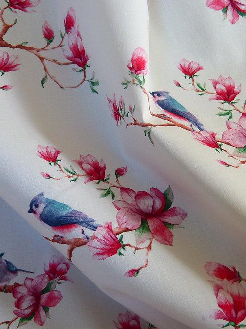 Tissu oiseaux et tulipiers