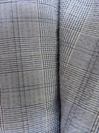 Coton gaufré carreaux gris