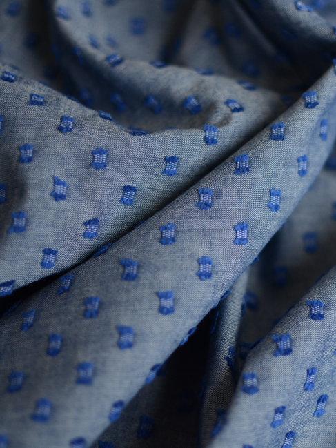Chambray plumetis bleu