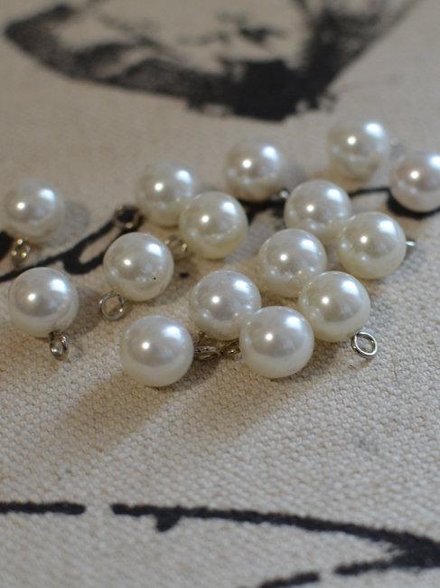 Bouton perle blanc nacré