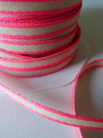 Ruban bicolore rose fluo