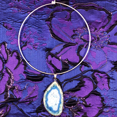 Blue Ray Throat Chakra Agate Choker Talisman