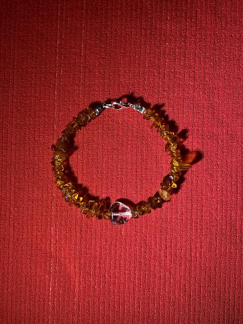 Carnelian & Quartz Heart Bracelet