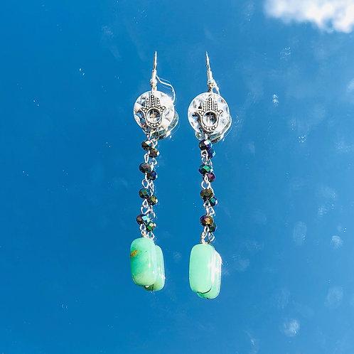 Hamsa Aventurine 5D Dangle Earrings