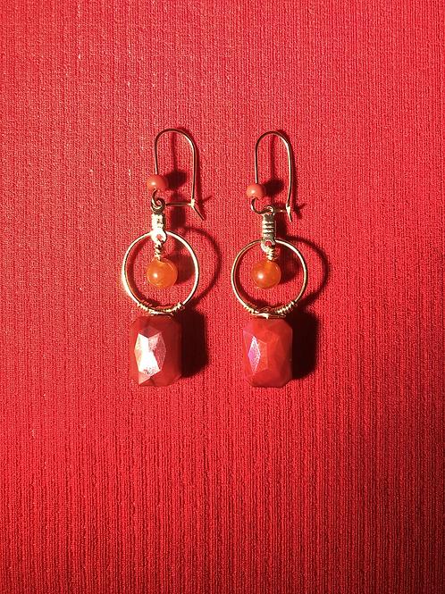Red Agate Mini Jewel Hoops