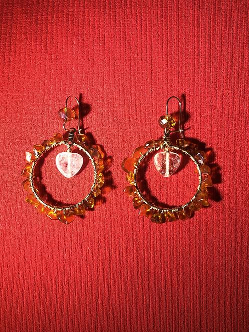 Carnelian & Quartz Heart Hoops