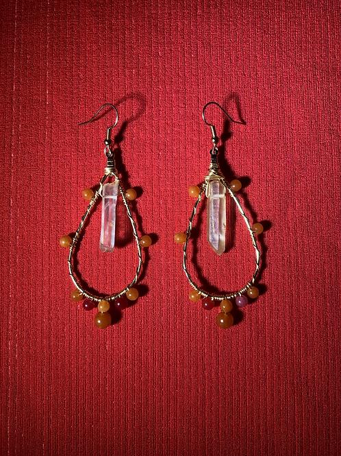 Red Agate & Quartz Drop Hoops