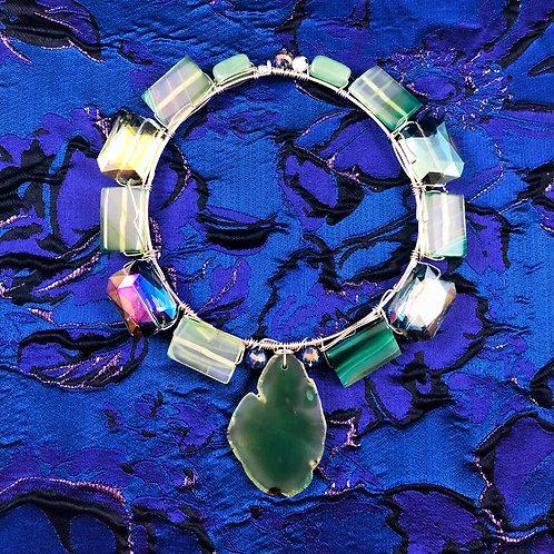 Current Sea Heart Chakra Agate Choker Talisman