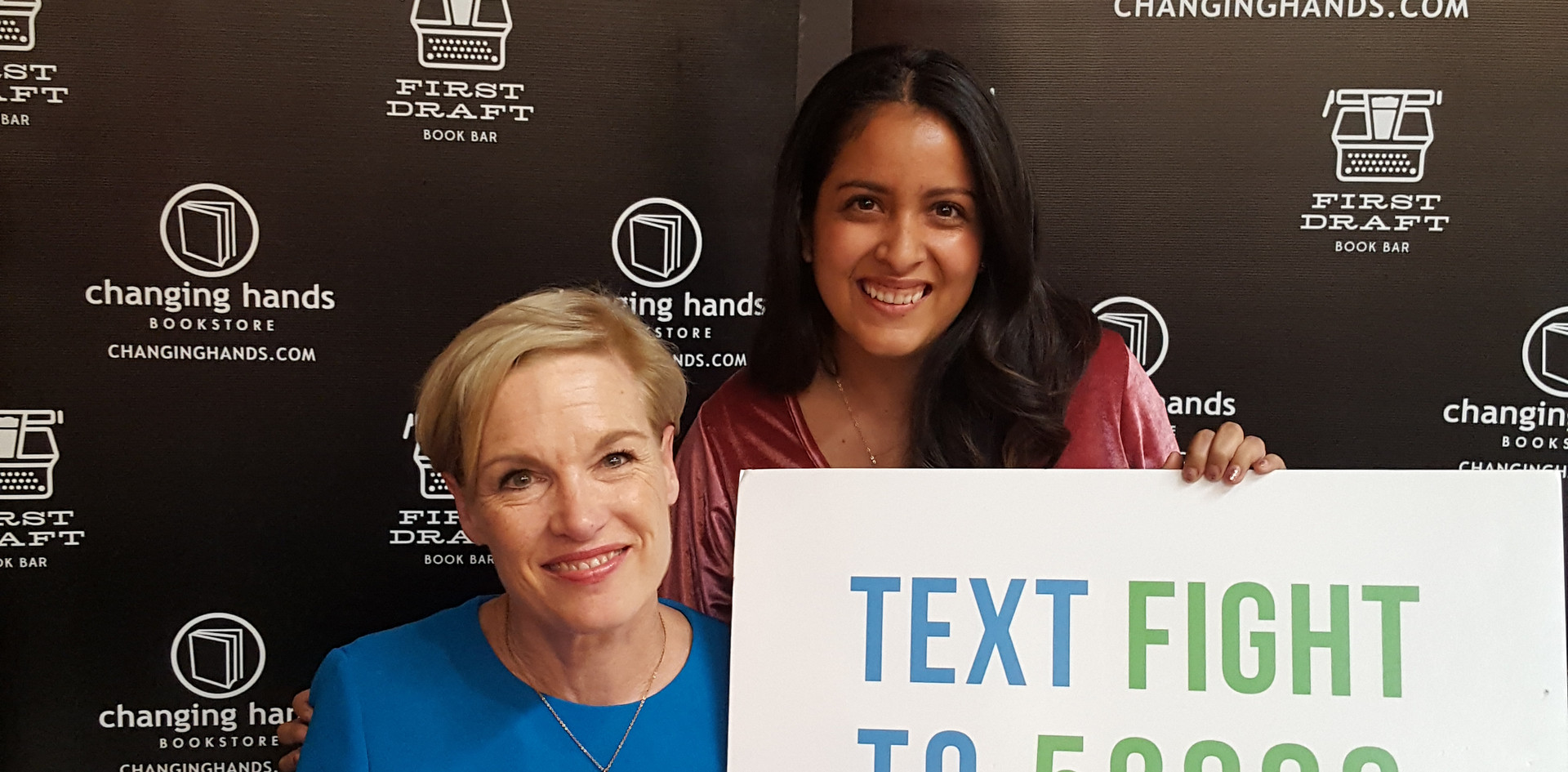 Brittany MacPherson, #Fight4HER Phoenix Organizer, poses for a photo with Cecile Richards.