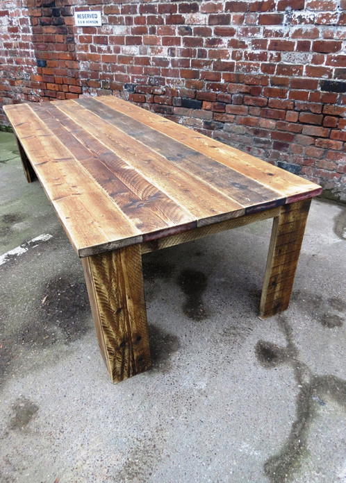 Reclaimed Industrial Chic Seater Solid Wood Dining Table - 12 seater solid wood dining table
