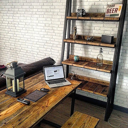Industrial Chic Reclaimed Steel Wood Trapezium Bookcase Media Shelving Unit 243