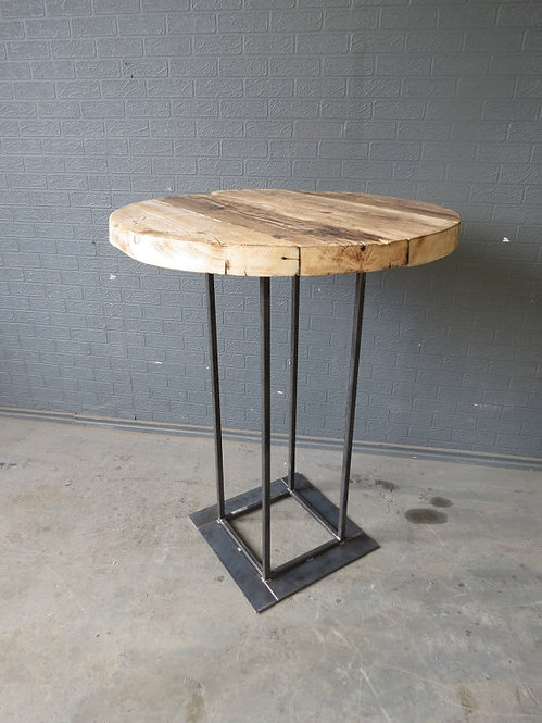 Industrial Chic Reclaimed Custom Made Round Tall Bar Poseur Table Wood Steel 017