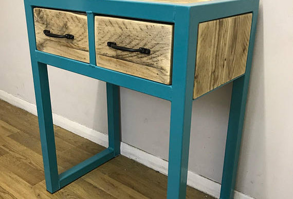 Industrial Chic Custom Reclaimed Console Table with 2 Drawers Turquoise 552
