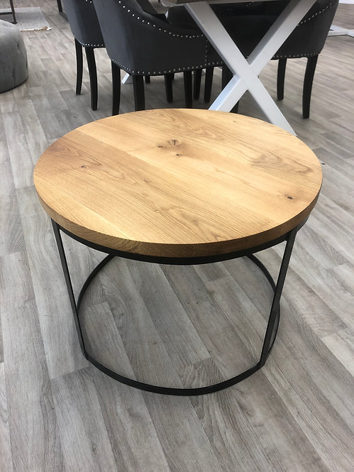 ***IN STOCK*** ROUND OILED OAK COFFEE TABLE WITH BLACK POWDER COATED FRAME