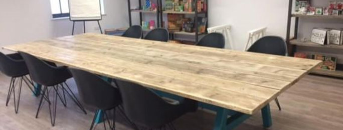 Reclaimed Industrial Chic A-Frame Conference Boardroom Wood & Metal Table 511