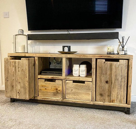 Reclaimed Industrial Chic Rustic 4 Drawer Sideboard TV Unit  - 681
