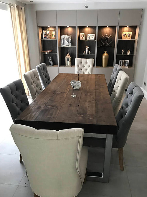Reclaimed Industrial Chic 10-12 Seat Solid Wood & Metal Dining Table 565