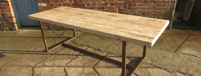 Reclaimed Industrial Chic 8-10 Seater Solid Wood Copper Frame Table CB 423