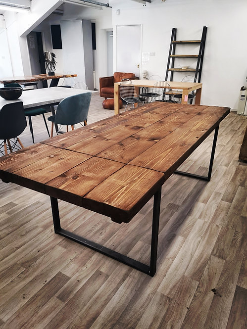 Reclaimed Industrial 6-10 Seater Solid Wood Metal END Extending Table HCB 657