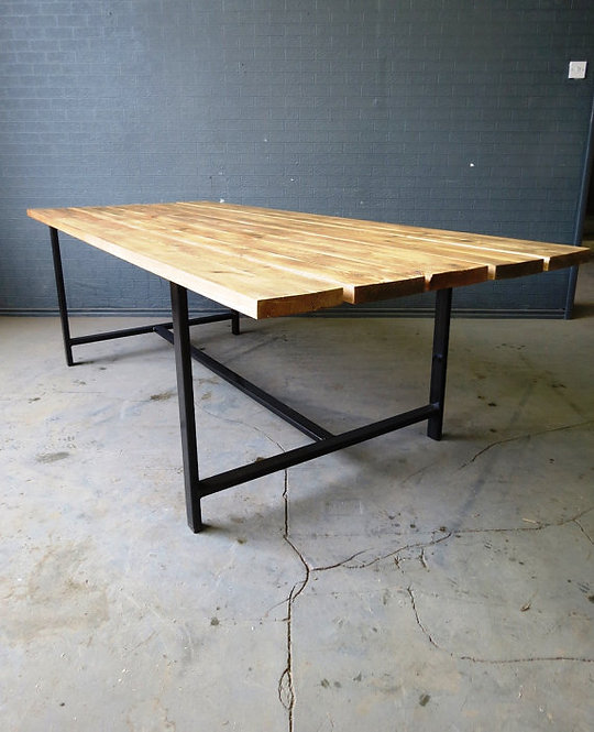 Reclaimed Industrial Chic Custom Indoor Outdoor Table Steel & Wood 357