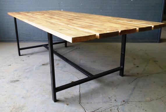 Reclaimed Industrial Chic Custom Indoor Outdoor Table Steel & Wood 357