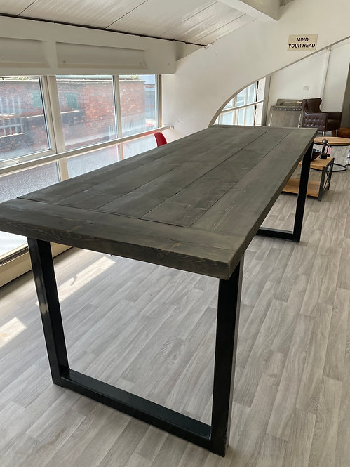 ***IN STOCK*** RECLAIMED TALL TABLE TABLE IN GREYWASH WITH POWDER COATED FRAME