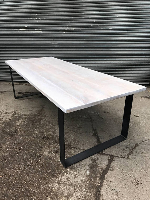 Solid Limed Oak Industrial Chic 8 10 Seater Solid Wood U0026 Steel Dining Table  560