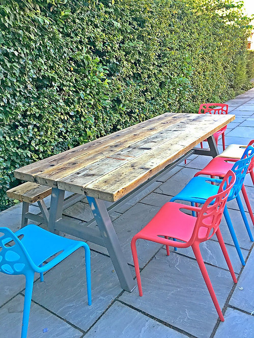 Reclaimed Industrial Chic A-Frame 6-8 Seater Solid Wood & Metal Table 016