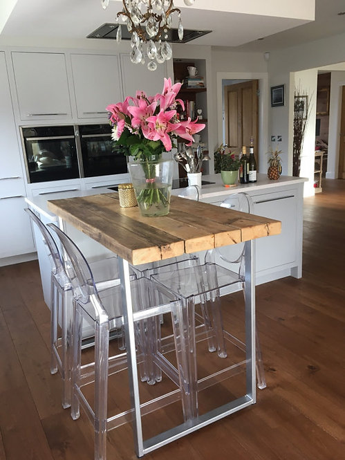 Reclaimed Industrial 4 Seater Chic Tall Poseur Table HCB Bespoke Wood Metal 502