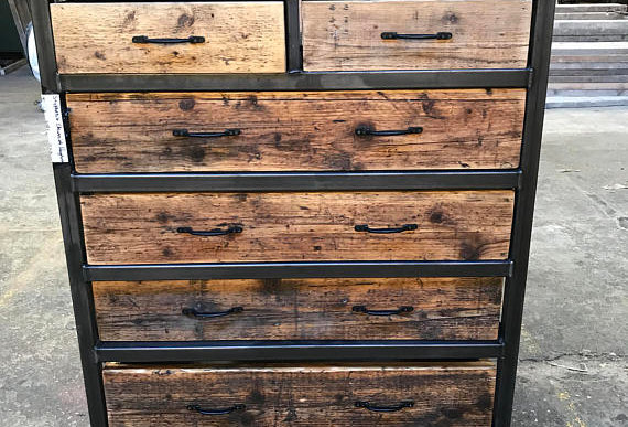 Reclaimed Industrial Chic Chest of 6 Drawers Tall Boy Unit Steel Wood Metal 520