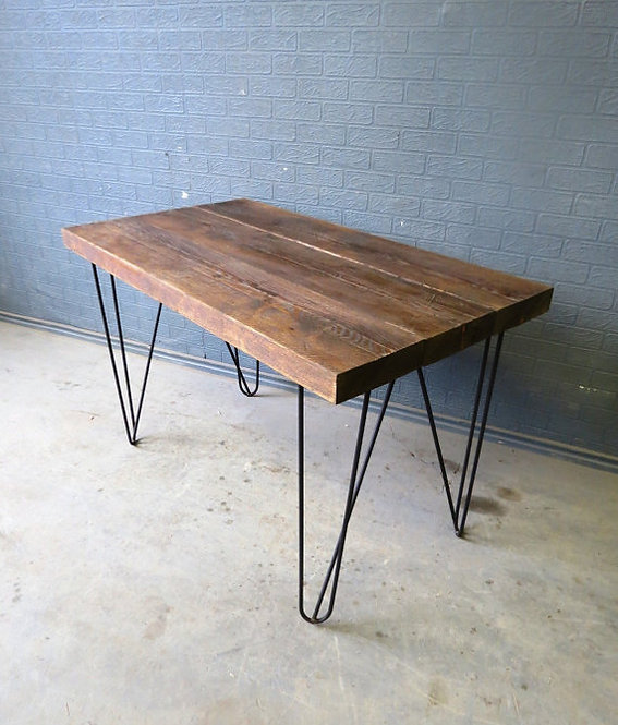 Industrial Chic Reclaimed Custom Hairpin Leg Office Desk Tables-074