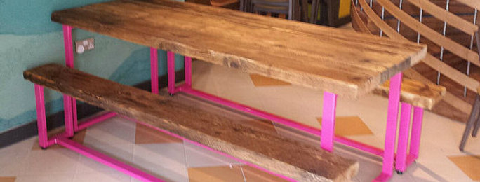 Reclaimed Industrial Chic 6-8 Seater Indoor Outdoor Pink Table & Benches CB 410