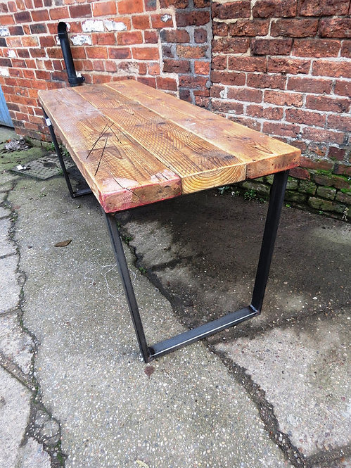 Reclaimed Industrial Chic Trapezium Wood & Metal Desk 256