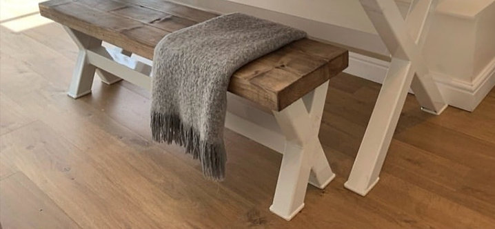 Matching XX WHITE Bench for Double X Table - 645