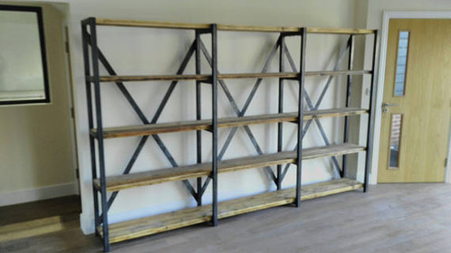 Chic Large Reclaimed Custom Steel Wood Bookcase Shelving Unit 525