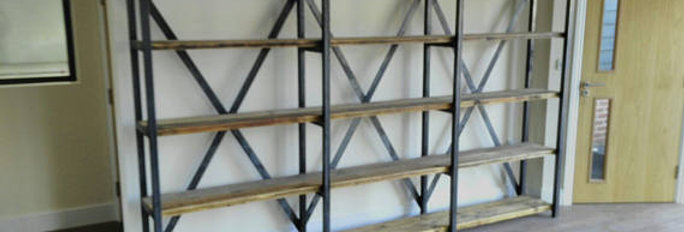 Industrial Chic Large Reclaimed Custom Steel & Wood Bookcase Shelving Unit 525