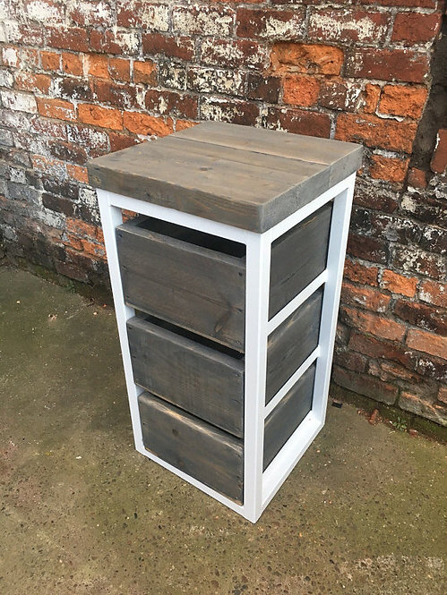 Reclaimed Industrial Chic Reclaimed Timber 3 Drawer Chest Island Unit 345