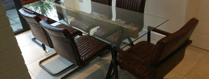 Reclaimed Industrial Chic 6-8 Seater Glass Solid Wood & Metal Dining Table 115
