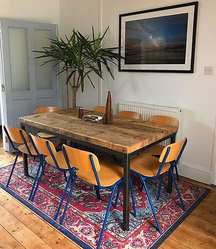 Reclaimed Industrial Chic 6-8 Seater Solid Wood Steel Straight Leg Table 613