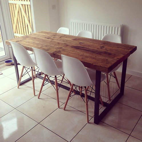 Reclaimed Industrial Chic 6-8 Seater Solid Wood & Metal Dining Table CB 157