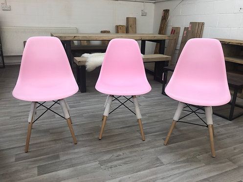***IN STOCK*** PINK EAMES STYLE PLASTIC TUB DINING CHAIR