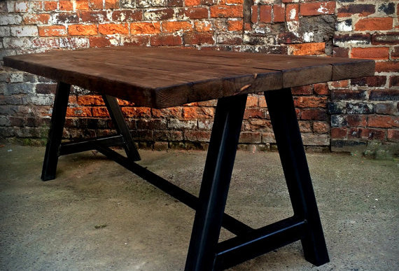 Reclaimed Industrial Chic A-Frame 6-8 Seater Solid Wood & Metal Dining Table 592