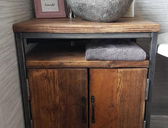 Reclaimed Industrial Rustic Bathroom Basin Washstand Sideboard with Doors 590