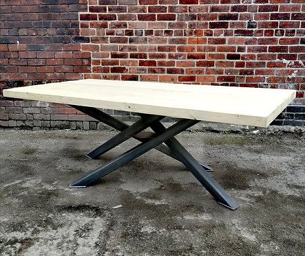 Industrial Chic Reclaimed Custom Centre Pedestal Table Steel & Wood 656