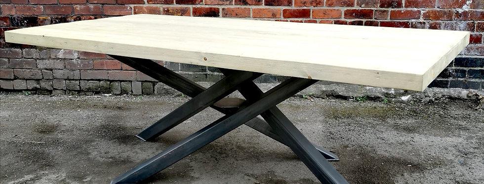 Industrial Chic Reclaimed Custom Centre Pedestal Table Steel & Wood 656